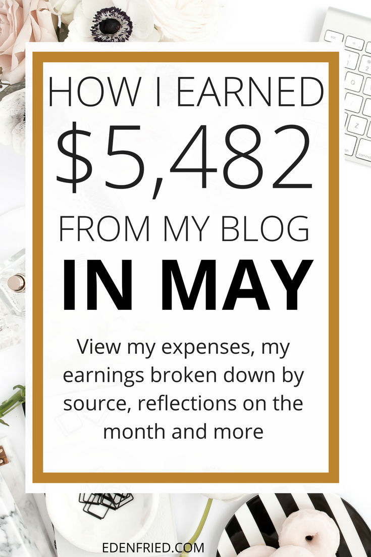 MAY 2017 income report. Check out my blog income report. learn how to make money blogging. EdenFried.com