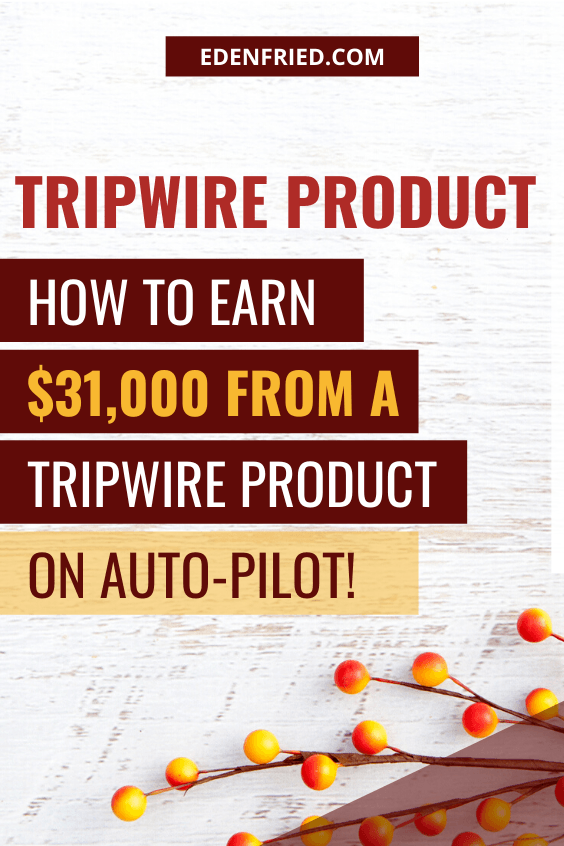 Learn how to make sales from a tripwire product - it's a low cost digital product attached to a lead magnet (freebie, freemium). You can make sales on auto pilot with a tripwire product! Learn how to setup a tripwire here! #digitalproduct #tripwireproduct #productsales EdenFried.com Rebel Boss Ladies Podcast